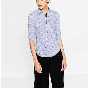 Zara anchor print striped poplin shirt
